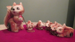 ceramic squirrel family